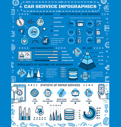Car repair service auto spare parts infographic vector
