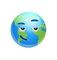 Cartoon earth face smiling icon funny planet vector