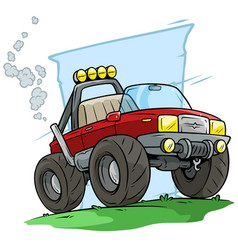 Cartoon red off road monster truck vector