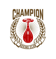 champion boxing club emblem template with vector image