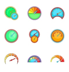 Circular gauge icons set cartoon style vector