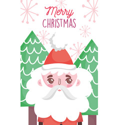 cute santa claus tree happy christmas tags vector image