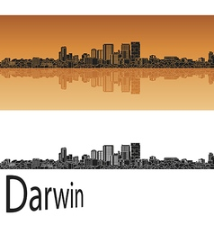 Darwin skyline in orange vector image