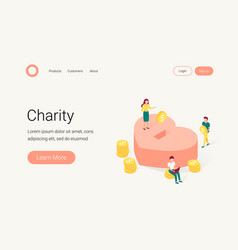 Donation and charity isometric concept vector