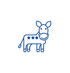 donkey usa democratic party line icon concept vector image