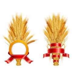 ears of wheat amp ribbon vector image