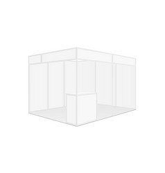 Exhibition stall mockup with table side view vector
