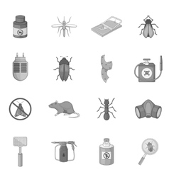 Exterminator icons set monochrome style vector