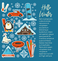 Extreme mountain resort ski and snowboard winter vector