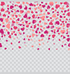 Falling pink hearts on transparent background vector