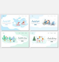 family outdoor activities web banners set vector image