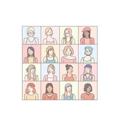 fashionable womens emotions set vector image