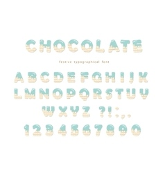 Festive chocolate font Cute letters and numbers vector