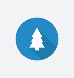 Fir-tree Flat Blue Simple Icon with long shadow vector