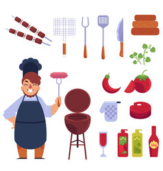 Flat style cartoon set of bbq barbecue and funny vector