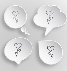 Flower-heart White flat buttons on gray background vector