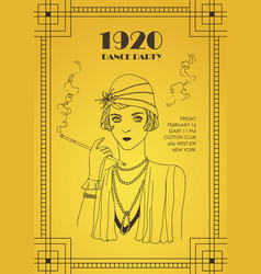 Flyer or poster template with flapper girl dressed vector