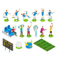 football isometric icons vector image
