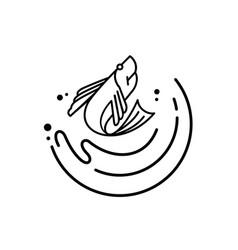 fresh fish jump over ocean outline logo vector image