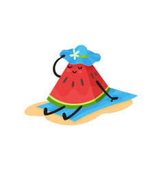 funny watermelon sitting on the beach in blue hat vector image