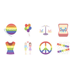 gay and lesbian icons in set collection for design vector image