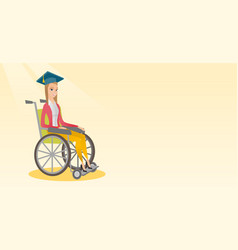 Graduate sitting in wheelchair vector