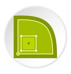 Green baseball field icon circle vector