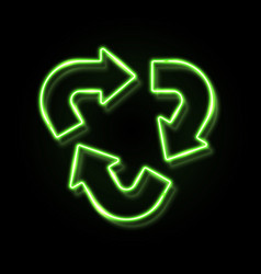 green neon light recycle symbol isolated on black vector image