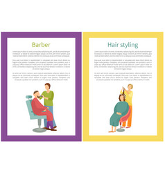 Hair styling and barber working with man vector
