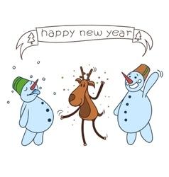 happy christmas deer vector image
