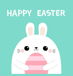 happy easter bunny rabbit holding pink striped vector image