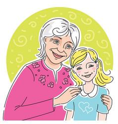 Happy grandmother with her granddaugher vector