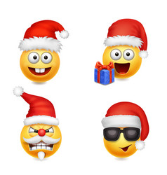 holiday set of smiley face emoticons christmas vector image