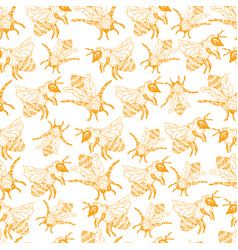 honey bee seamless pattern sketch vector image