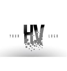 Hv h v pixel letter logo with digital shattered vector