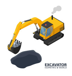 Isometric excavator isolated on white background vector