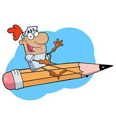 Knight riding pencil cartoon vector image