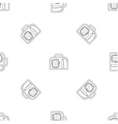 lunch sandwich box icon outline style vector image