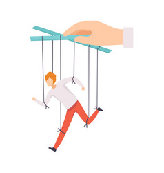 Male marionette on ropes controlled hand vector