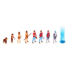 man evolution apes to digital cyborg technology vector image