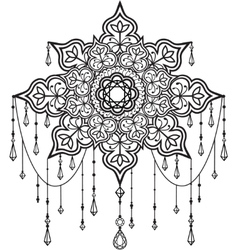 Mandala with beads and crystals vector