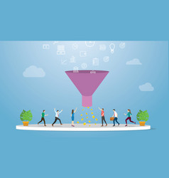 marketing sales funnel with profit result vector image