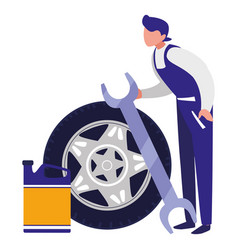 Mechanic worker with tire car and oil gallon vector