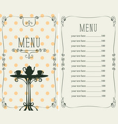 Menu for the cafe with price list and served table vector
