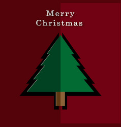 merry christmas card with paper christmas tree vector image