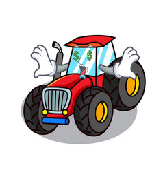Money eye tractor mascot cartoon style vector