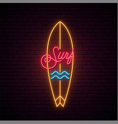 Neon surfboard sign glowing surf emblem vector