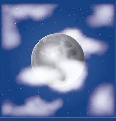nightly moonlight scene background with clouds and vector image