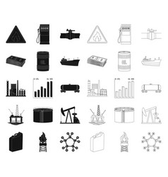 oil industry blackoutline icons in set collection vector image