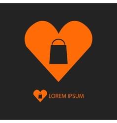 Orange I love shopping logo on black vector